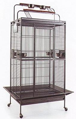 Mcage New Large Wrought Iron Bird Parrot Cage Double Ladders