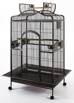 New Large Wrought Iron Open/Close Dome Play Top Bird Parrot