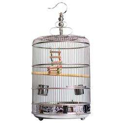 New Stainless Steel Bird Round Cage Parrot Travel Carrier Pe