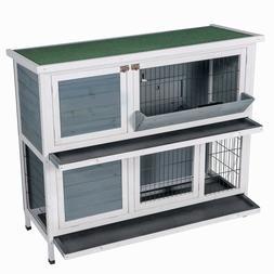 New Two Floors Wooden Outdoor Indoor Bunny Hutch Rabbit Cage