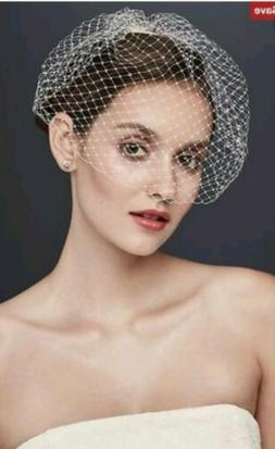 Nwt Ivory Davids Bridal Blusher Veil Birdcage Rhinestone Com