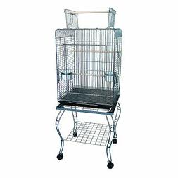 YML 24-Inch Open top Parrot Cage with Stand, Antique Silver