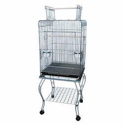 YML 20-Inch Open Top Parrot Cage with Stand, Antique Silver