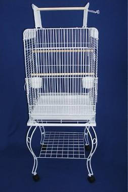 YML 24-Inch Open top Parrot Cage with Stand, White
