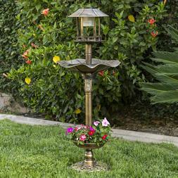Outdoor Bronze Solar LED Light Bird Bath Water Bowl Garden F