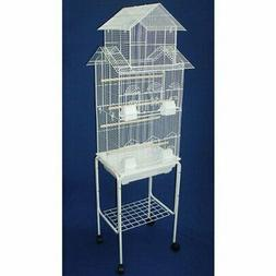 Pagoda Small Bird Cage with Stand - Color: White