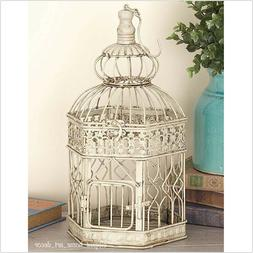 Pair of Large Decorative Bird Cage Distressed Cream Metal Ha