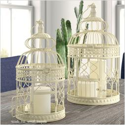Pair Of Rustic Bird Cages Distressed Cream Scroll Iron Shabb