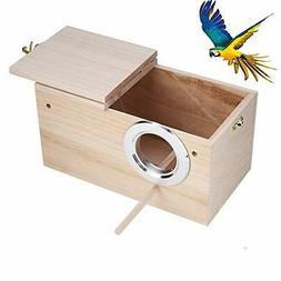Parakeet Nesting Box, Bird Nest Breeding Box Cage Wood House