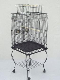"""Brand New Parrot Bird Cage Cages Play w/Stand 20x20x58 """"Blac"""