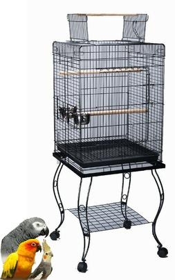 Large 20 Inch Parrot Bird Cage Top Play With Stand Wheel 20x