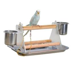 Parrot Bird Perch Table Top Stand Metal Wood 2 Cups Play Bre