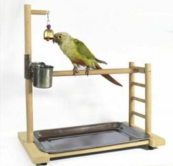 Parrot Bird Perch Table Top Stand Metal Wood 2 Cups Play Med
