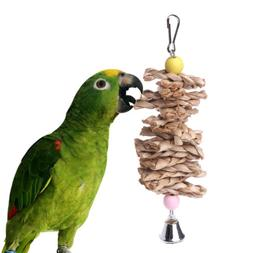 Parrot Bird Toys Natural Wooden Grass Chewing Bite Hanging C