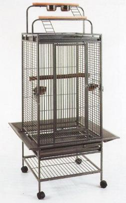 New Parrot Bird Wrought Iron Cage 22x22x60 Play-Top *Black V