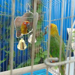 Parrot Chew Bite Bell Mirror Cage Hanging Toy Swing Pet Bird