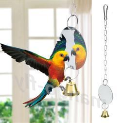 Parrot Chew Bite Bell Mirror Play Toys Swing Pet Birds Parak
