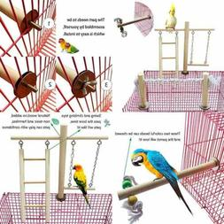 Parrot Climbing Ladder Swing Toy Natural Wood Bird Cage Play