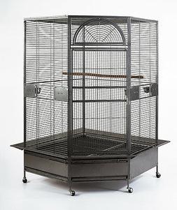"XL Parrot Escape Jumbo Corner Bird Aviary Cage H73"" Macaws P"