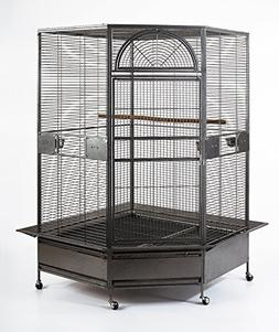 "XL Parrot Escape Jumbo Corner Bird Aviary Cage H73"" Macaws P"