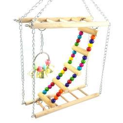 Parrot Ladder Pet Bird Wooden Playground Climbing Swing Chew