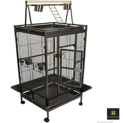 Extra Large Bird Cage Parrot Metal Macaw Playtop Finch Perch