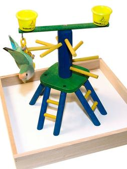 Parrot Perch Pet Bird Play Gym Stand Table Top Pyramid Perch