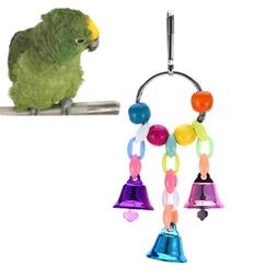 Parrot pet bird chew cages hang toys wood large rope swing l