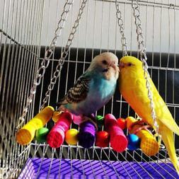 Parrot Pet Bird Wooden Swing Parakeet Cockatiel Cage Hanging