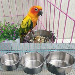 Parrot Pet Stainless Steel Food Water Bowl Bird Feeder For C