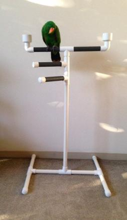 PARROT PLAY GYM bird perch triple tower stand with food and