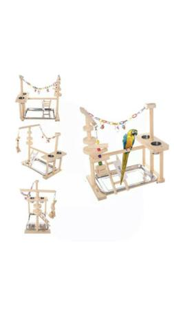 Parrot Play Stand Bird Playground Wood Perch Gym Playpen Lad