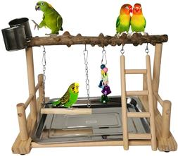 Parrot Playground Bird Playstand Wood Exercise Play Perch Ex