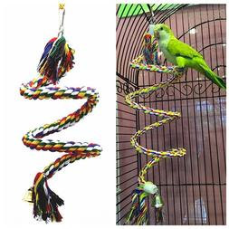 Parrot Rope Hanging Braided Budgie Chew Rope <font><b>Perch<