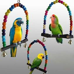 Parrot Swing Wood Pet Bird Cage Hanging Toy for Parakeet Coc