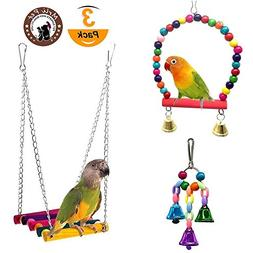 Mrli Pet Parrot Toy Bird Swing Toys Hanging Bells and Wooden