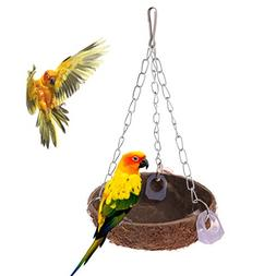 Qupida Parrot Toys Perch Coconut Shell Swing Nest Hanging Ca