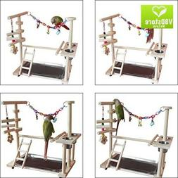 QBLEEV Parrot Wood Stand Perch Bird Playstand Playground Pla