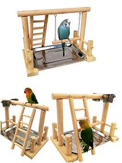 Borange Parrots Playstand Bird Playground Wood Perch Trainin