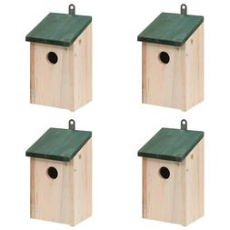 Patio Outdoor 4 pcs Garden Wooden Bird House Nesting Box Gre