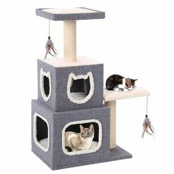 Penn Plax Two Story Cat Condo with Scratching Post and Perch