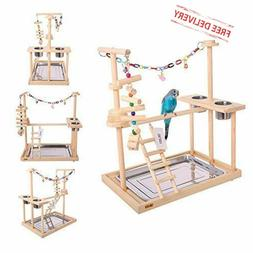 Pet Bird Parrot Play Stand Perch Cockatiel Playground Wood G
