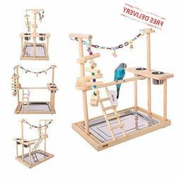 Pet Bird Parrot Play Stand Perch Cockatiel Playground Wood G