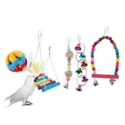 Pet Bird Cage Ornament Birds Swing Toys Hanging Bell, Wood P