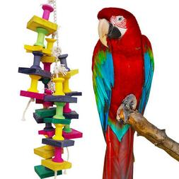 Pet Bird Chew Cages Hang Toys Wood Ladder Bite Toys for Parr
