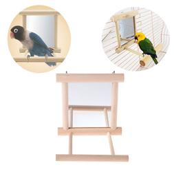 Pet Bird Mirror Wooden Play Toy with Perch For Parrot Budgie
