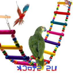 Pet Bird Wood Ladder Climb Cableway Hamster Toys Rope Parrot