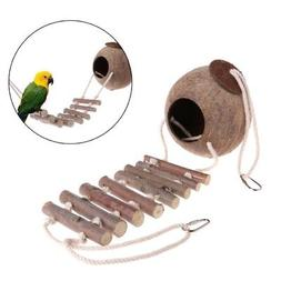 Pet Natural Coconut Shell Parrot Birds Nest Hut Cage House F