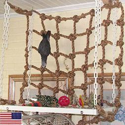 Pet Parrot Bird Cage Toy Hanging Rope Climbing Net Game Buck