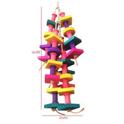 Pet Parrot Bird Chew Cages Hang Toys Wood Large Rope Cave La
